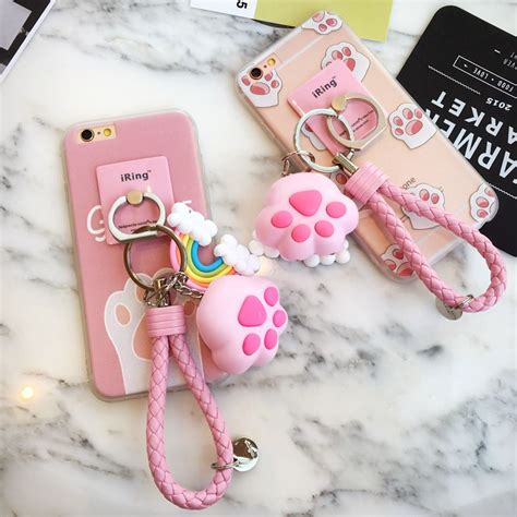 Iphone 7plus Animal Ring kawaii cat claw pink iphone6 6splus phone