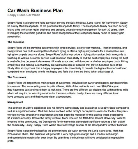 Car Wash Business Plan Template car wash business plan template 11 free documents in pdf