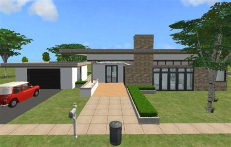 Single Story Open Floor Plans mod the sims modern 1 story split level with a red roof