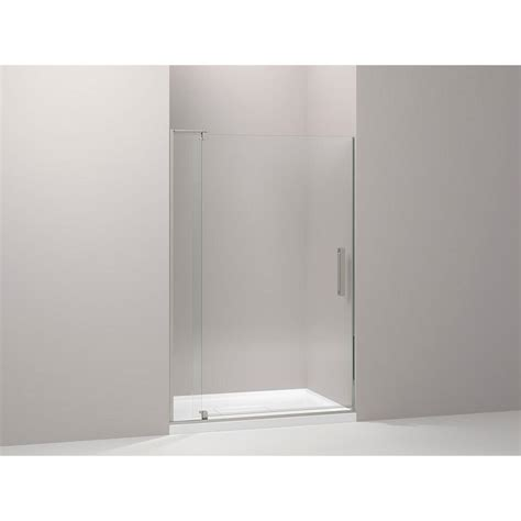 48 Pivot Shower Door Kohler Revel 48 In X 70 In Frameless Pivot Shower Door In Anodized Brushed Nickel 707551 L Bnk