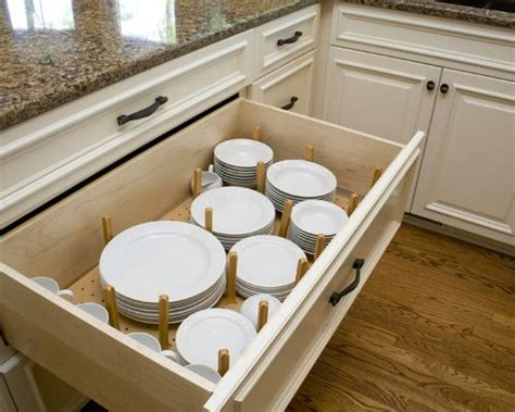 kitchen cabinet plate organizers plate drawer houzz