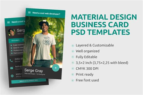 material design business card template free material design business card psd template by