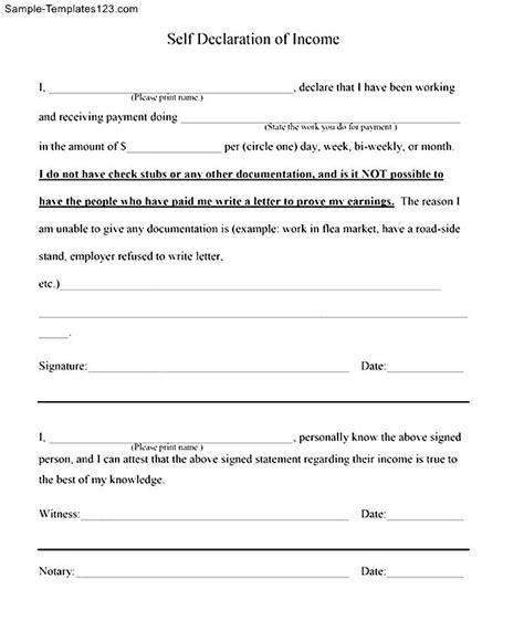 Certificate Declaration Letter Free Sle Self Declaration Of Income Letter Sle Templates