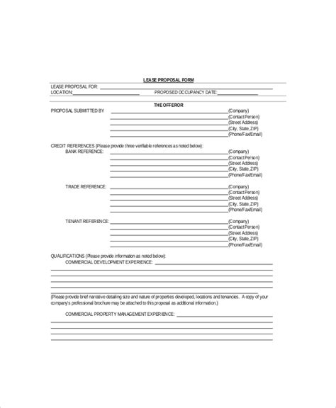 format commercial proposal 7 lease proposal templates free sle exle format