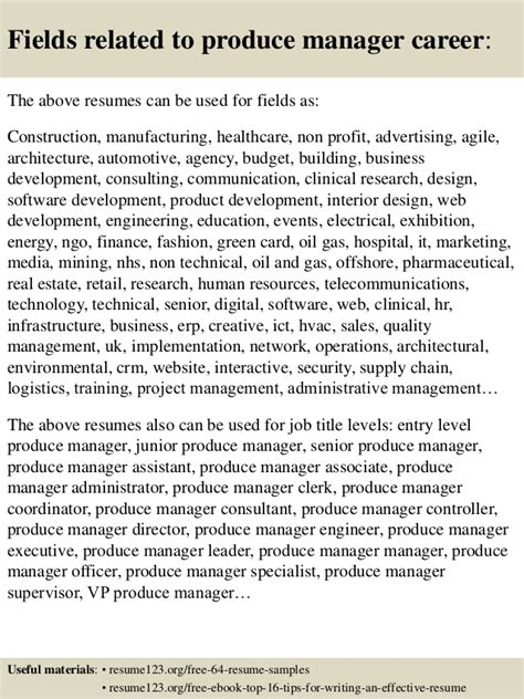 top 8 produce manager resume sles