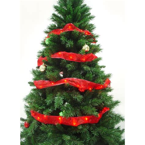 12 ft red christmas trees starlite creations 12 ft pre lit led ribbon garland rl33 r012 a the home depot