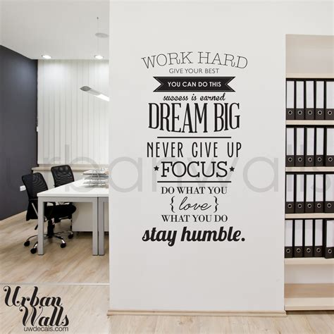 office wall decorations work hard office wall decal wall decals pinterest