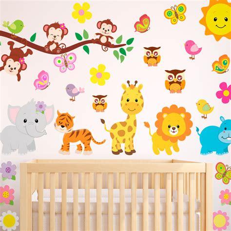 wandtattoo wilde tiere kinderzimmer wandtattoo babyzimmer tiere muraldecal