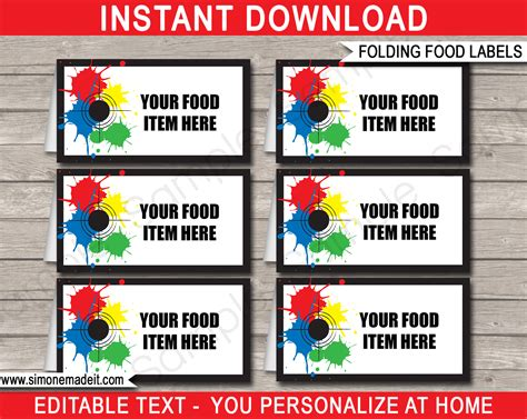 food cards for buffet template paintball food labels place cards paintball