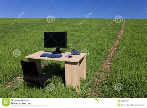 Desk In The Field by Desk Telephone Computer In Green Field With Path Stock
