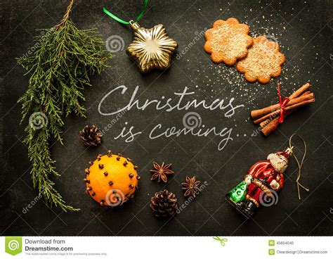 christmas is coming poster or postcard design stock