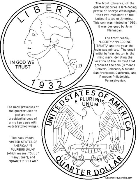 printable quarter coin us quarter coloring page printout enchanted learning