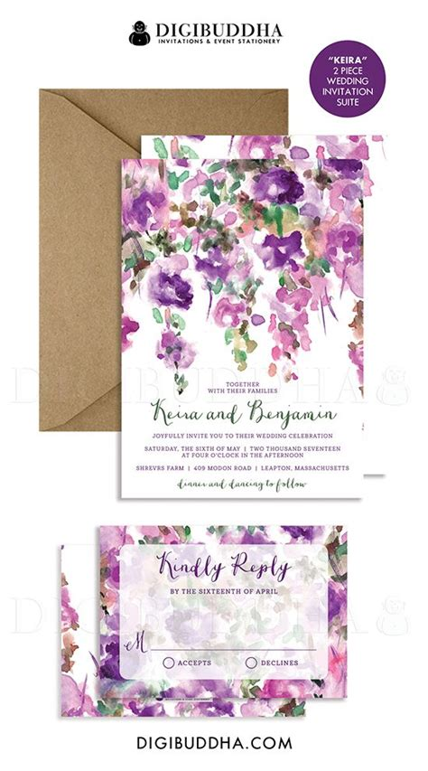 purple flowers wedding invitation rsvp whimsical floral rustic invite plum green 2 pc suite