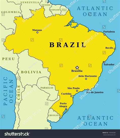 brazil map with cities map brazil country outline 10 largest stock illustration