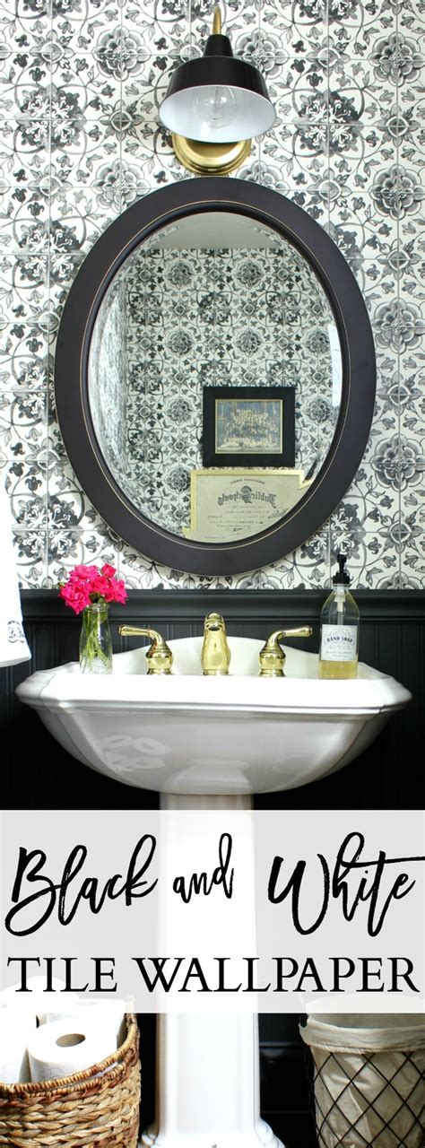 black and white tile wallpaper powder room hymns and