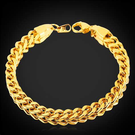 Gelang Rantai Kotak Bracelet Chain Titanium 316l u7 besar baru chunky gelang rantai 18 kb emas perhiasan berlapis orang lazada indonesia