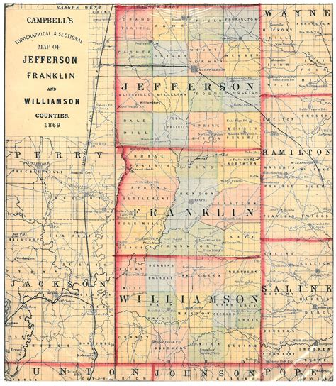 Williamson County Il Court Records 1869 Williamson Franklin And Jefferson County Map Williamson County Illinois