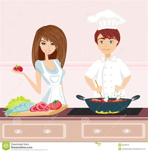 2d Kitchen Design by Couple Cooking Dinner Stock Vector Image 39136372