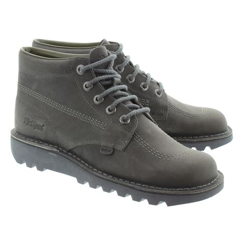 Boot Pria Kickers Leather Suede kickers leather kick hi mens lace ankle boots in grey in grey