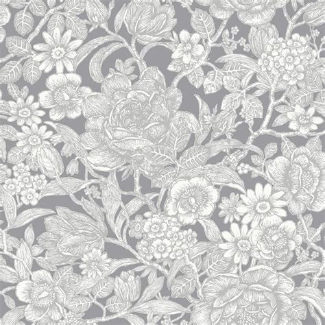 wallpaper grey floral crown wild hedgerow floral grey wallpaper m1188