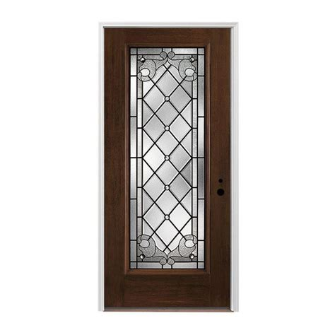 Shop Pella Left Hand Inswing Dark Mahogany Stained Pella Exterior Doors