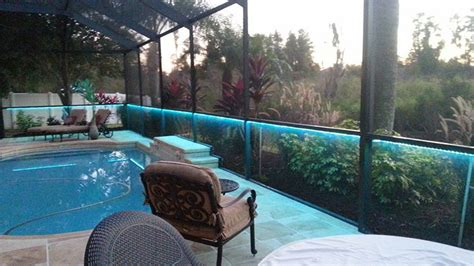 bird cage pool enclosure with color changing led lights