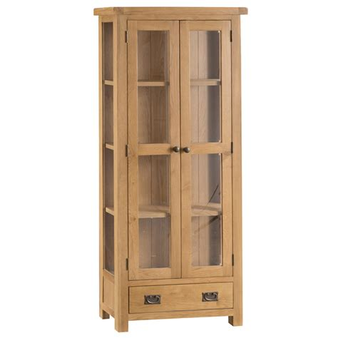 Display Cabinets With Glass Door Hexham Oak Display Cabinet With Glass Doors No Assembly Required