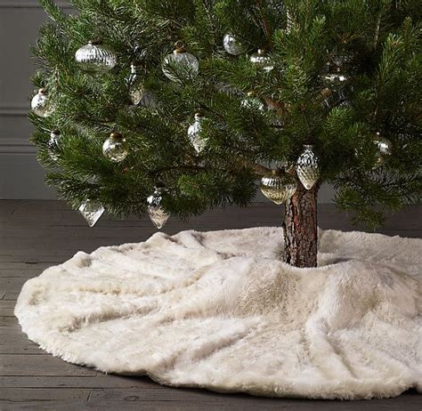luxe faux fur tree skirt restoration hardware holiday