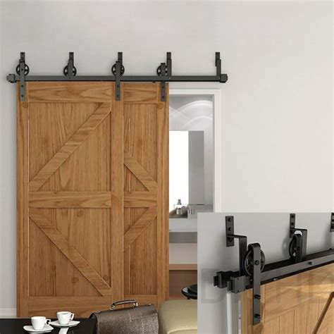 Winsoon 5 16ft Bypass Sliding Barn Door Hardware Double Hardware For Sliding Barn Door