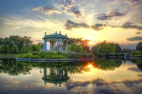 sunset the gazebo at forest park st louis the