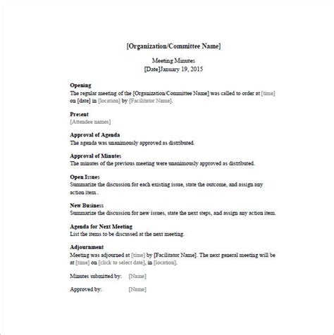 organization meeting minutes template free meeting minutes templates 17 free sle exle