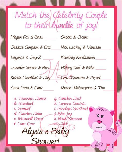 theme names for games printable baby shower game celebrity baby name game