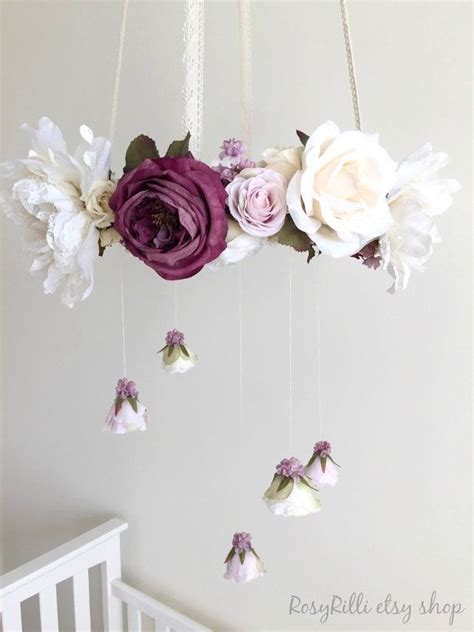 girl themes for mobile rustic purple flower mobile farmhouse nursery rustic