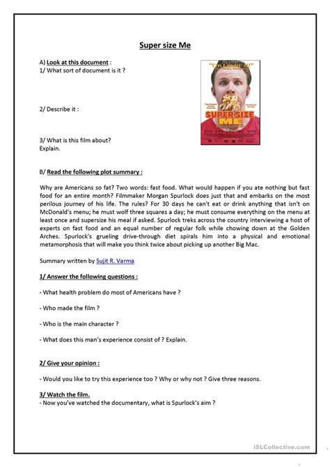 Supersize Me Worksheet Answers by Supersize Me Worksheet Free Esl Printable Worksheets