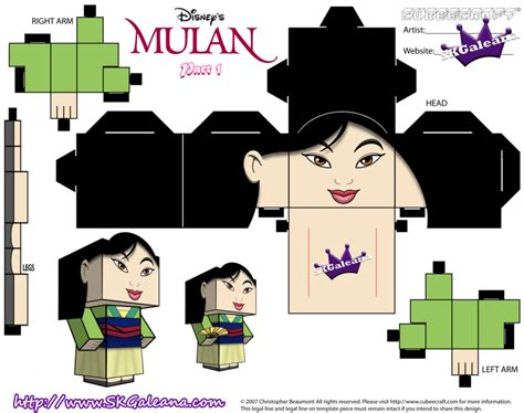 Disney Papercraft - disney princess mulan cubeecraft template pt1 by skgaleana