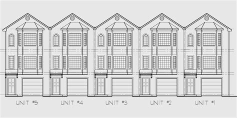 drawing of a house with garage 5 unit house plans 5 unit townhouse plans 2 bedrooms fv 568