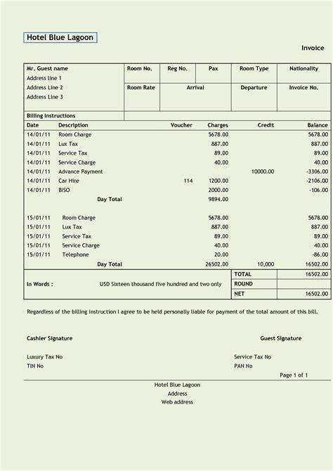 Bill Receipts Template by Hotel Bill Sle Rabitah Net