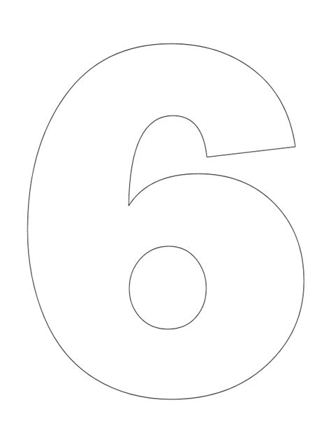 coloring page of number 6 best photos of large number 6 template large printable