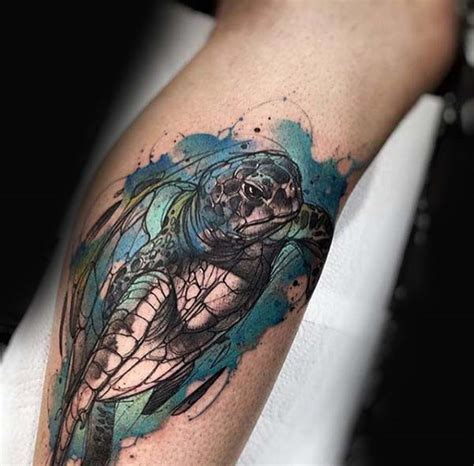 watercolor turtle tattoo 100 turtle tattoos for shell design ideas