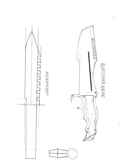 Cs Go Huntsman Knife M9 Bayonet By Stefankar1000 On Deviantart Popsicle Stick Butterfly Knife Template