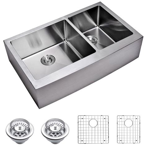 Stainless Steel Apron Front Kitchen Sink Water Creation Farmhouse Apron Front Small Radius Stainless Steel 36 In Basin Kitchen