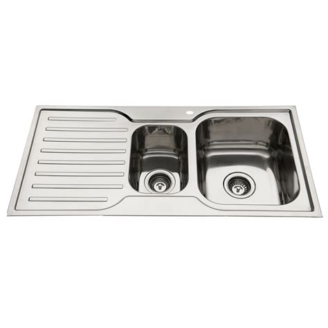 1 1 2 Bowl Kitchen Sink Everhard 980mm Squareline 1 And 1 2 Bowl Kitchen Sink With Drainer