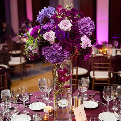 purple centerpieces flower for wedding table decoration