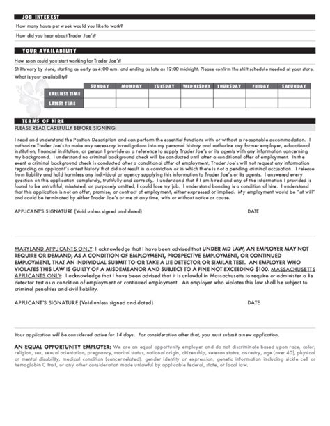 trader joe s up letter free printable trader joe s application form page 2