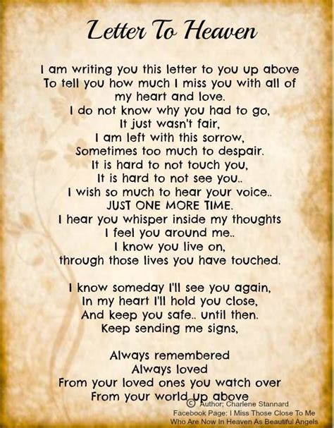 Letter Poem Letter To Heaven Rest In Peace