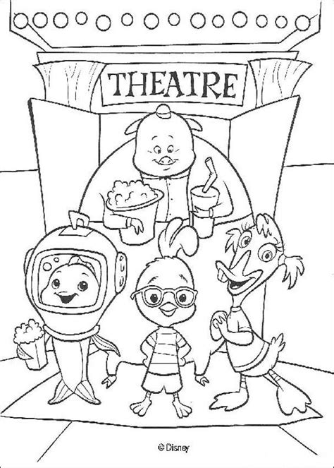 chicken little coloring pages 71 free disney printables for kids chicken little and friends at the theater coloring pages