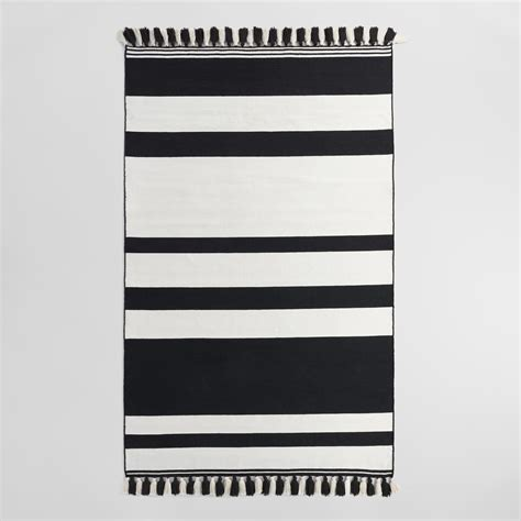 black and white striped kitchen rug 5 x8 black and stripe woven indoor outdoor rug world market