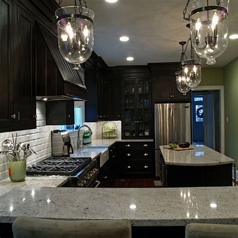 grey kitchen cabinets with black granite countertops dark cabinets gray granite countertops subway tiles