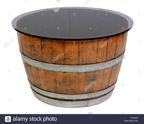 wine barrel table glass top half wine barrel table with glass top stock photo royalty