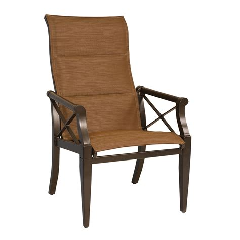 High Chair Patio Furniture Woodard 3q0525 Andover Padded Sling High Back Outdoor Dining Arm Chair Atg Stores